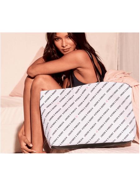 Пляжная сумка Victoria's Secret Beach Tote White Logo VS