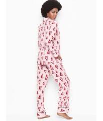 Пижама коттоновая Victoria's Secret the Lightweight PJ SET Print PINK RIBBON HEART
