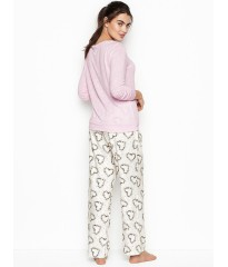Пижама Victoria's Secret  PJ SET PINK Print STARS & HEARTS