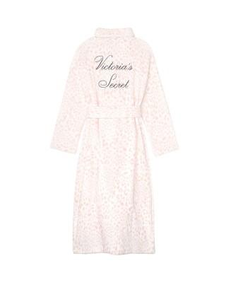 Халат Victoria's Secret Cozy Plush Long Robe Pink Leopard