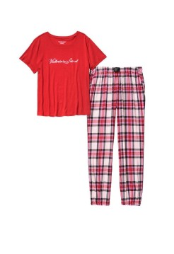 Пижама Victoria's Secret Red Cotton & Flannel Long Lounge PJSet