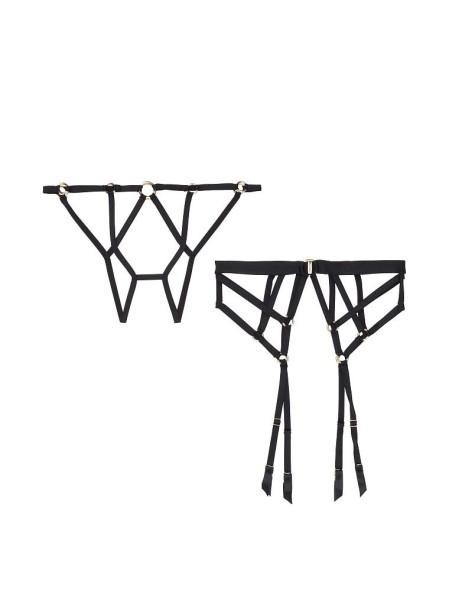 Комплект Трусики с поясом VSVery SexyBlack StrappyRing Cheekini panty Garter