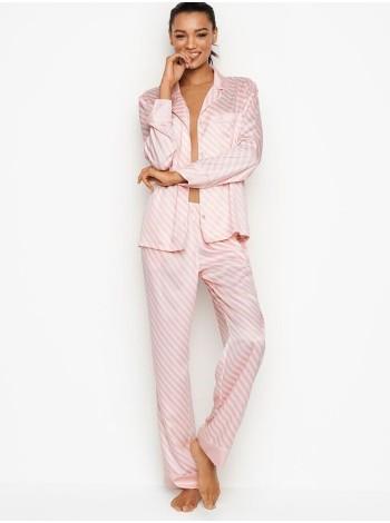 Пижама розовая в полоску Victoria's Secret Signature Stripes The SatinLong PJ Set