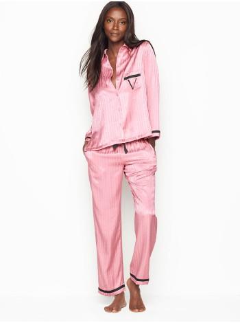 Пижама розовая в полоску Victoria's SecretThe Satin PJ Set Pink Stripes