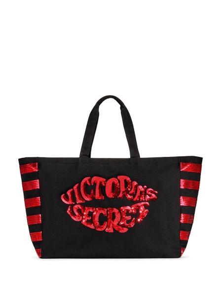 Пляжная сумка Victoria's Secret Beach Tote c красными паетками