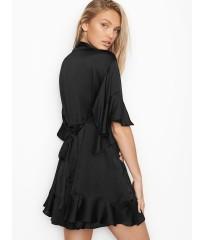 Халат Victoria's Secret Satin BLACK Flounce Kimono
