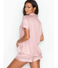 Пижама розовая в полоску Victoria's Secret The Satin Short PJ Set Classic Stripes