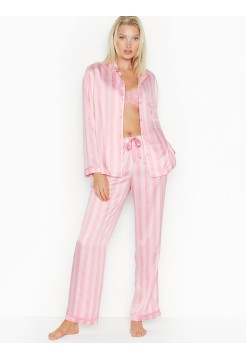 Розовая пижама Victoria's Secret в полоску The Satin PJ Set PINK SCRIPT STRIPE