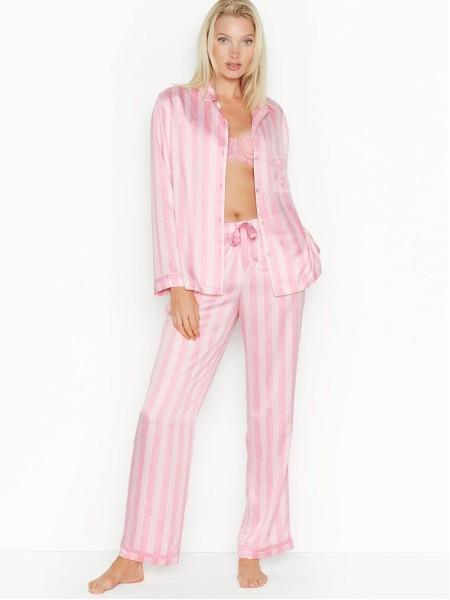Розовая пижама Victoria's Secret в полоску The Satin PJ Set PINK SCRIPT STRIPE