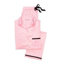 Пижама розовая в полоску Victoria's Secret Signature Stripes The Satin PJ Set