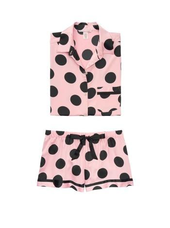 Сатиновая пижама Victoria's Secret Satin PJ Set Short PINK/BLACK DOT