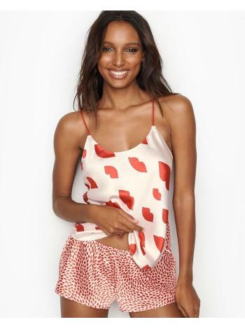 Сатиновая пижама Victoria's Secret satin Pj Set print RED LIPS