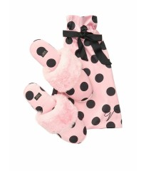 Домашние тапочки Victoria's Secret Slippers PINK Black Dot
