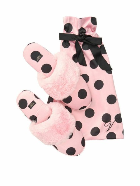 Домашние тапочки Victoria's Secret Slippers PINK Black Dot