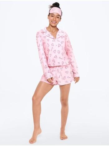 Пижама Victoria's Secret The LightweightBoxer PJ SET Print ANGEL PINK TYPED