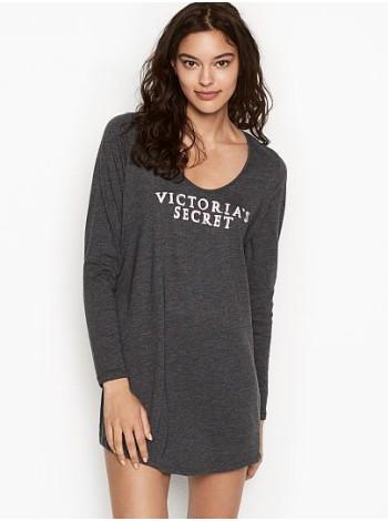 Ночная рубашка Victoria's Secret SCOOPNECK BLACK Long Sleeve