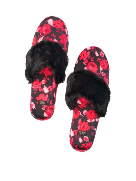 Домашние тапочки Victoria's Secret Slippers Black floral print