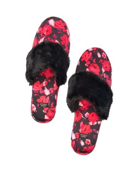 Домашние тапочки Victoria's Secret Slippers Black floral print