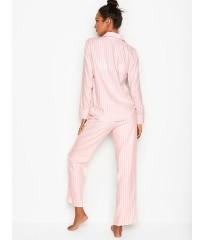 Фланелевая пижама Victoria's Secret Flannel Long PJ Set в розовую полоску